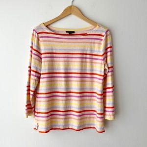 J.CREW Spring Striped Boat Neck Cotton Tee M